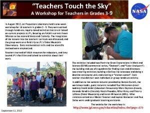 Teachers Touch the Sky A Workshop for Teachers