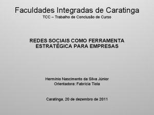 Faculdades Integradas de Caratinga TCC Trabalho de Concluso
