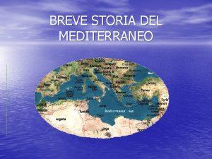 BREVE STORIA DEL MEDITERRANEO Mediterraneo vuol dire in
