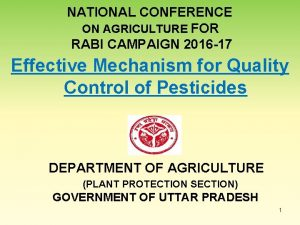 NATIONAL CONFERENCE ON AGRICULTURE FOR RABI CAMPAIGN 2016