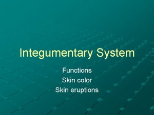 Integumentary System Functions Skin color Skin eruptions Functions