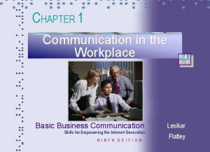 CHAPTER 1 Communication in the Workplace Basic Business