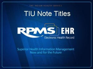 TIU Note Titles Learning Objectives Review Note Title