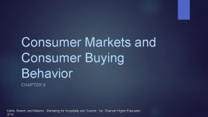 Consumer Markets and Consumer Buying Behavior CHAPTER 6