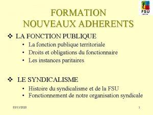 FORMATION NOUVEAUX ADHERENTS v LA FONCTION PUBLIQUE La