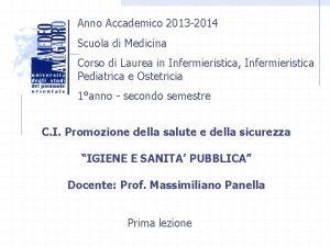 Anno Accademico 2013 2014 Scuola di Medicina Corso