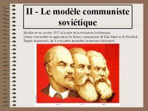 II Le modle communiste sovitique Modle n en