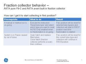 Fraction collector behavior KTA pure F 9 C