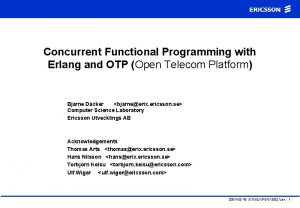 Concurrent Functional Programming with Erlang and OTP Open