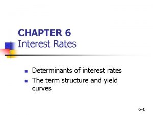 CHAPTER 6 Interest Rates n n Determinants of