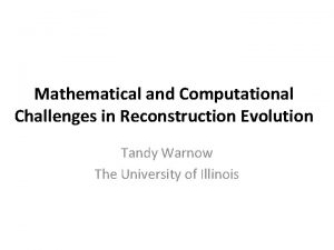 Mathematical and Computational Challenges in Reconstruction Evolution Tandy