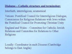 Dialogue Catholic structure and terminology Interfaith interreligious ecumenical