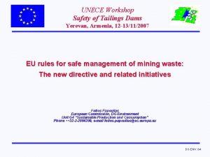 UNECE Workshop Safety of Tailings Dams Yerevan Armenia