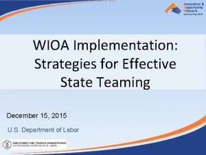 WIOA Implementation Strategies for Effective State Teaming December