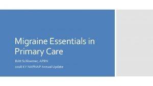 Migraine Essentials in Primary Care Britt Schloemer APRN
