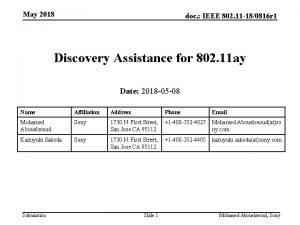 May 2018 doc IEEE 802 11 180816 r