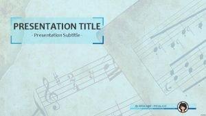 PRESENTATION TITLE Presentation Subtitle By James Sager Oct