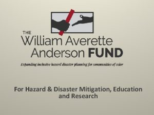 For Hazard Disaster Mitigation Education and Research Bill