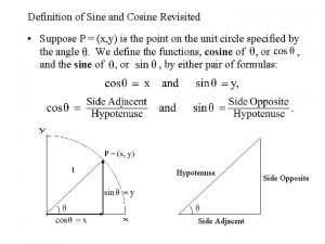 Definition of Sine and Cosine Revisited Suppose P