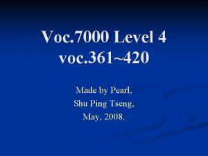Voc 7000 Level 4 voc 361420 Made by