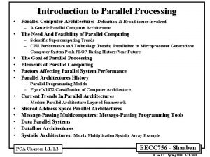 Introduction to Parallel Processing Parallel Computer Architecture Definition
