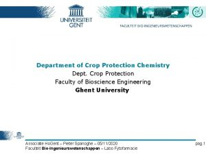 Department of Crop Protection Chemistry Dept Crop Protection