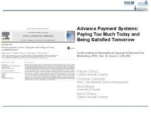 Advance Payment Systems Paying Too Much Today and