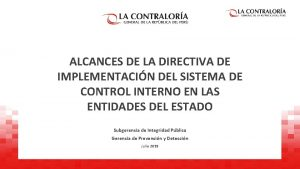 ALCANCES DE LA DIRECTIVA DE IMPLEMENTACIN DEL SISTEMA