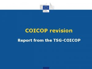 COICOP revision Report from the TSGCOICOP COICOP revision
