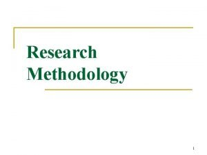 Research Methodology 1 CONTENTS What is research methodology