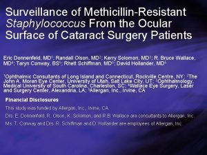 Surveillance of MethicillinResistant Staphylococcus From the Ocular Surface