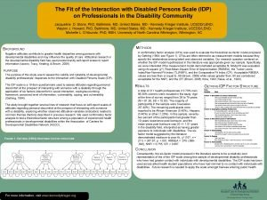 The Fit of the Interaction with Disabled Persons
