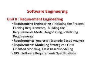 Software Engineering Unit II Requirement Engineering Requirement Engineering