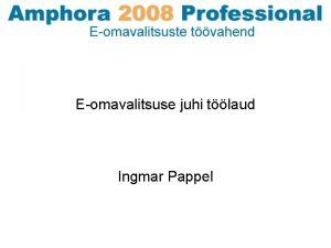 Eomavalitsuse juhi tlaud Ingmar Pappel KOV probleemid Elanikkonna
