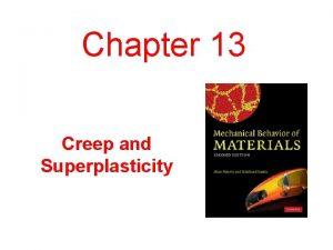 Chapter 13 Creep and Superplasticity Creep Strain vs
