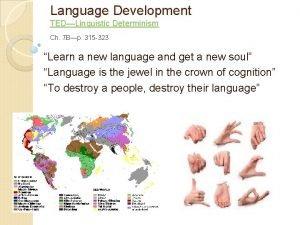 Language Development TEDLinguistic Determinism Ch 7 Bp 315