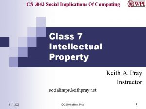 CS 3043 Social Implications Of Computing Class 7