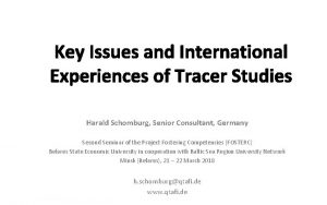 Key Issues and International Experiences of Tracer Studies
