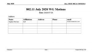 July 2020 doc IEEE 802 11 200325 r