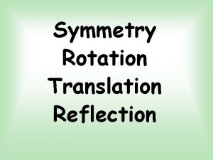 Symmetry Rotation Translation Reflection Symmetry What is a