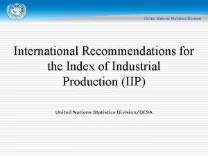 International Recommendations for the Index of Industrial Production