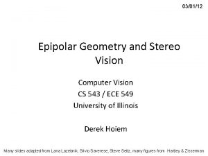 030112 Epipolar Geometry and Stereo Vision Computer Vision