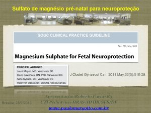 Sulfato de magnsio prnatal para neuroproteo J Obstet