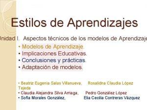 Estilos de Aprendizajes Unidad I Aspectos tcnicos de