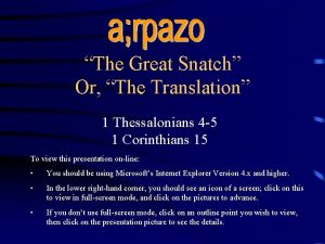 The Great Snatch Or The Translation 1 Thessalonians