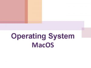 Operating System Mac OS MAC OS X Screenview