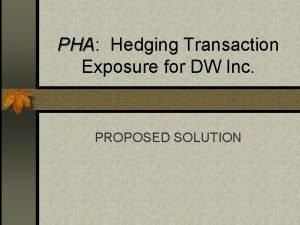 PHA PHA Hedging Transaction Exposure for DW Inc