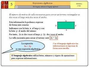 5 Expresiones algebraicas 1 Matemticas 2 ESO Del