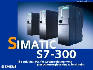 Automation and Drives GGKennung oder Produktname SIMATIC S
