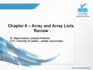 Chapter 6 Array and Array Lists Review Dr